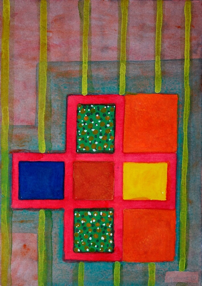 Attached Orange Squares to a Basic Grid  by Heidi Capitaine
