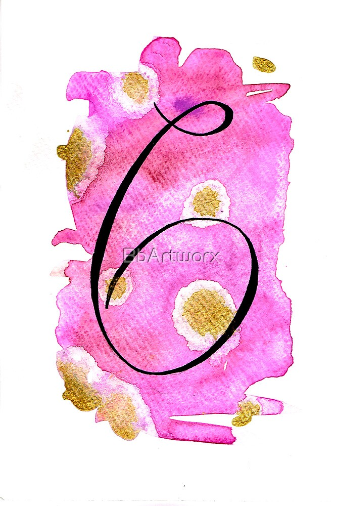 Number 6 Table Number - black on pinks with gold by BbArtworx
