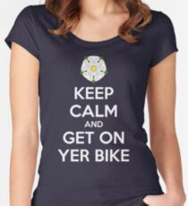 Keep Calm and Get On Yer Bike Women's Fitted Scoop T-Shirt