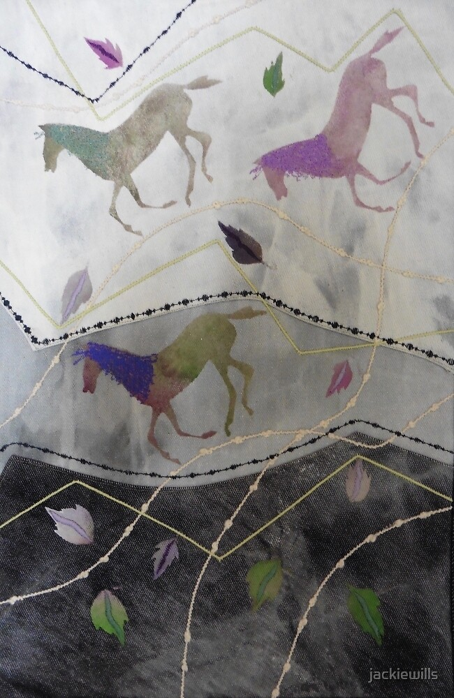 Three Galloping Horses. Print of Embroidered Textile by Jackie Wills by jackiewills