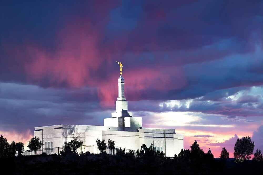 Snowflake Arizona Temple - Stormy Sunset 30x20 by Ken Fortie