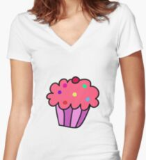 Pink Cupcake Women's Fitted V-Neck T-Shirt