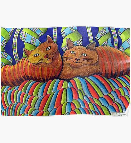 402 - STRIPY CATS  - DAVE EDWARDS - COLOURED PENCILS - 2014 Poster
