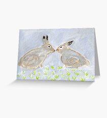 Loving Rabbits  Conejitos Amorosos Greeting Card