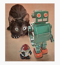 Kitten and Retro Robots Photographic Print