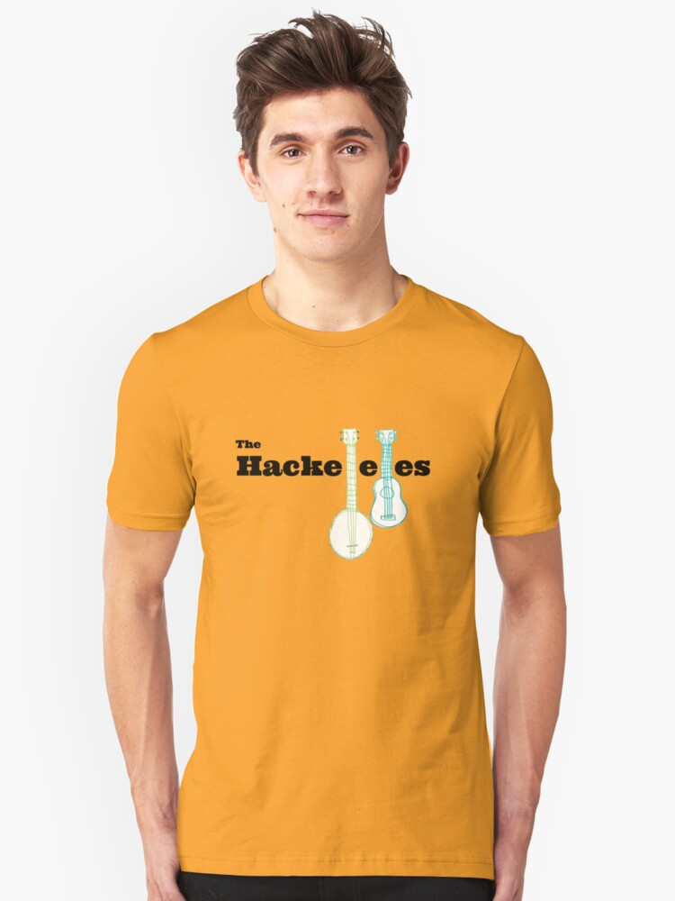 The Hackeleles (black text) Unisex T-Shirt Front