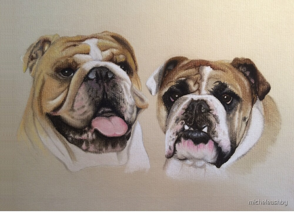Daisy & George - British Bulldogs by micheleashby