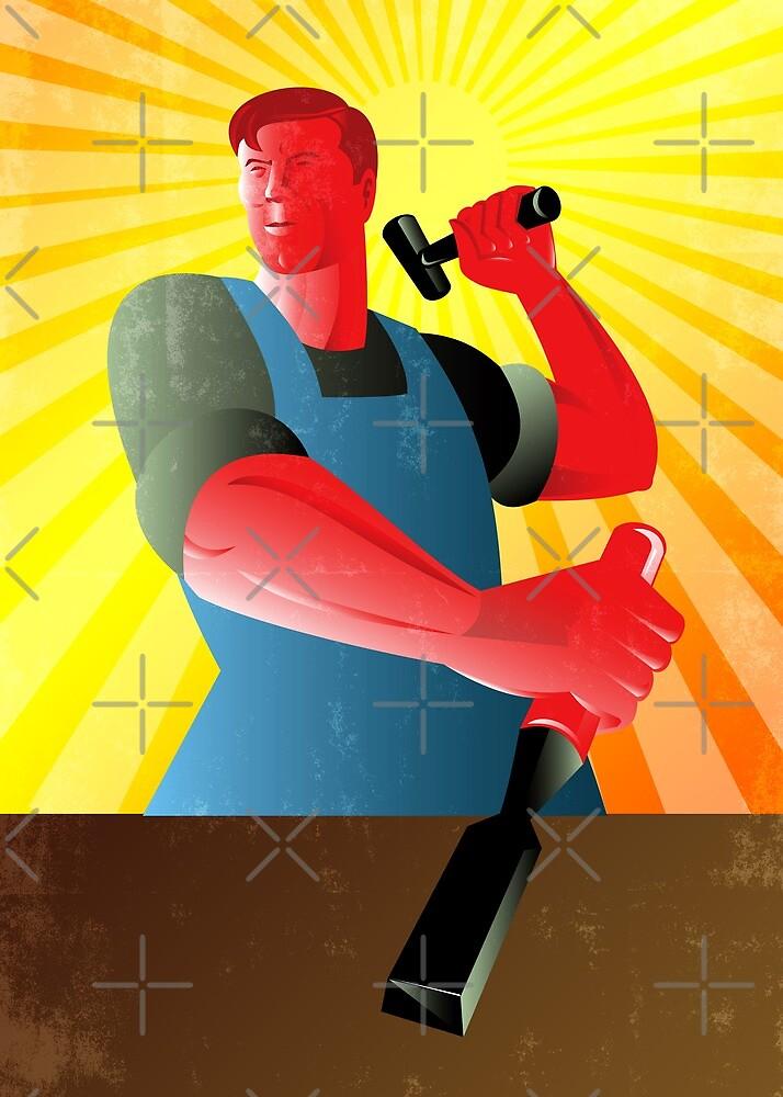 Carpenter Striking Hammer Chisel Poster Retro by patrimonio