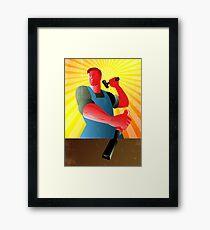 Carpenter Striking Hammer Chisel Poster Retro Framed Print