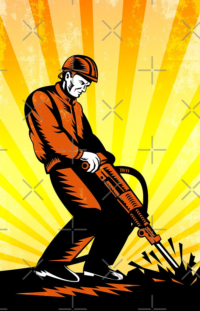 Construction Worker Jackhammer Retro Poster by patrimonio