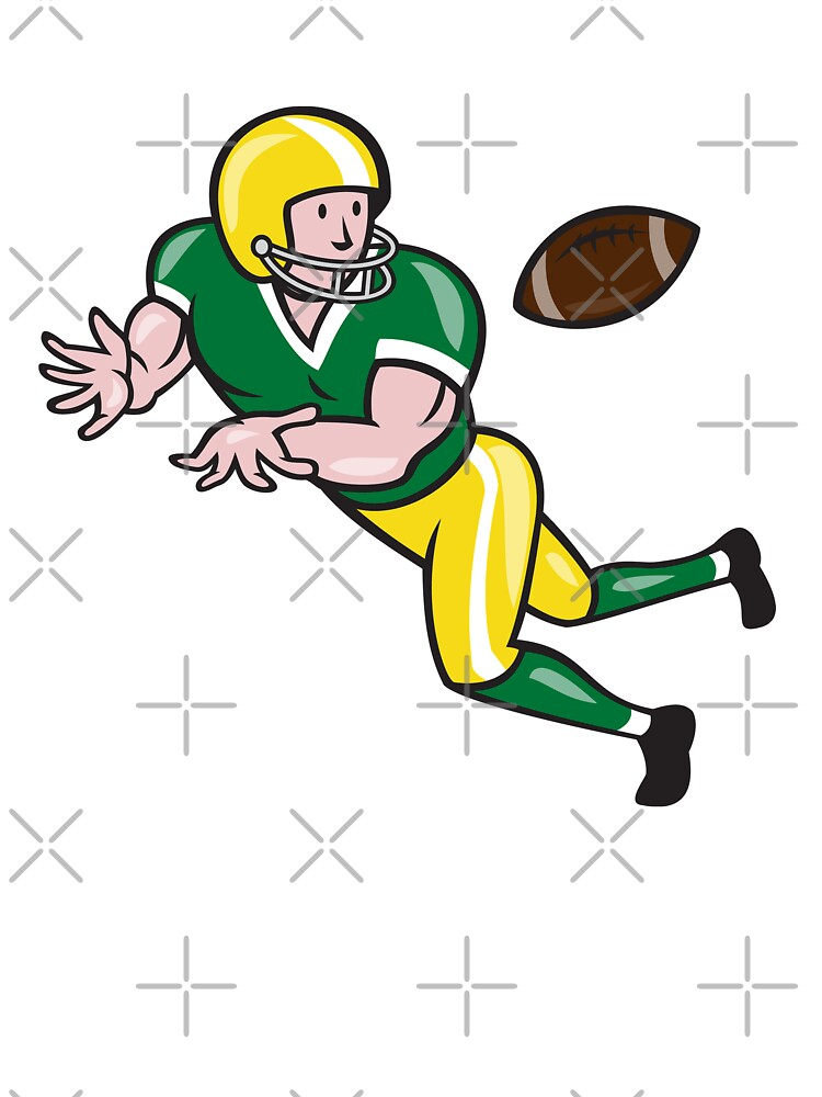 American Football Wide Receiver Catch Ball Cartoon by patrimonio