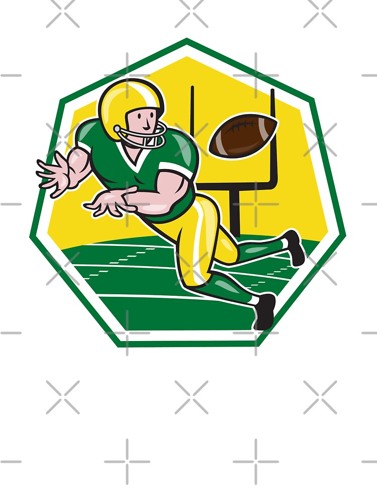 American Football Wide Receiver Catching Ball Cartoon by patrimonio