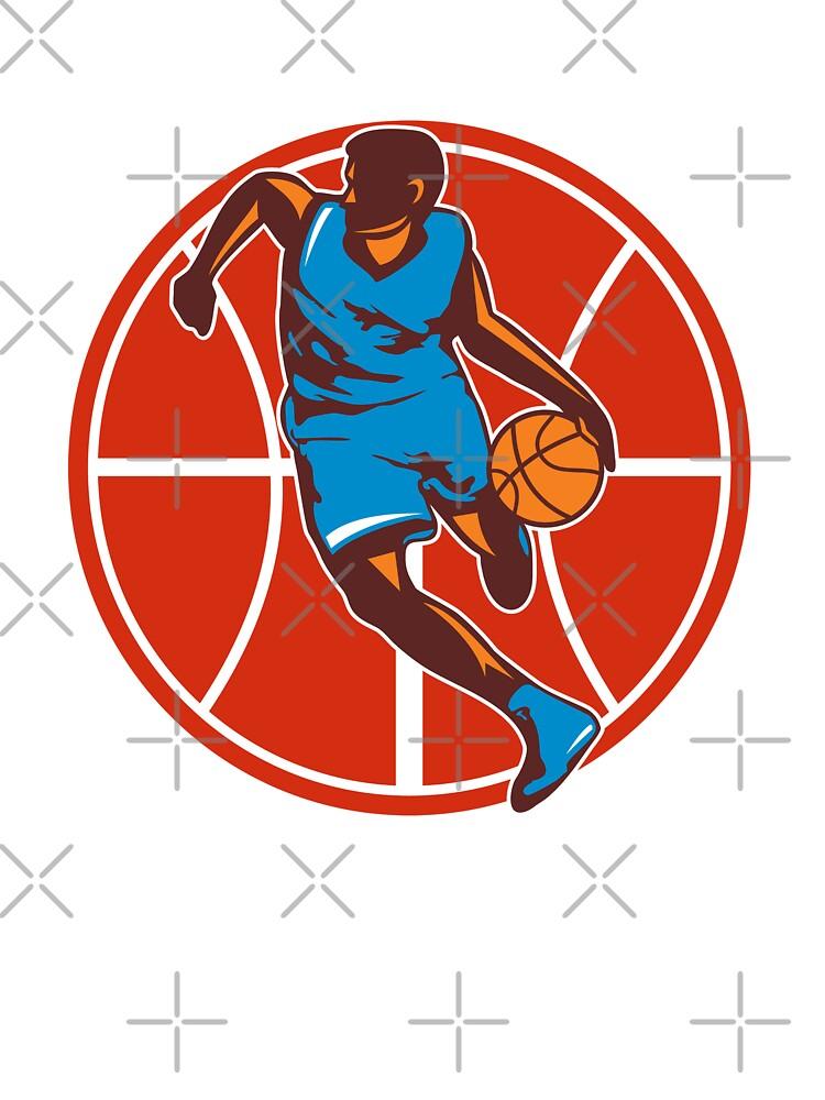 Basketball Player Dribble Ball Front Retro by patrimonio