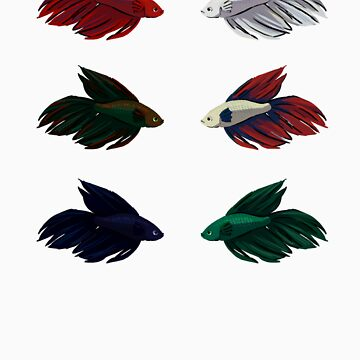 Veiltail Betta (set of 6) by snapperfish