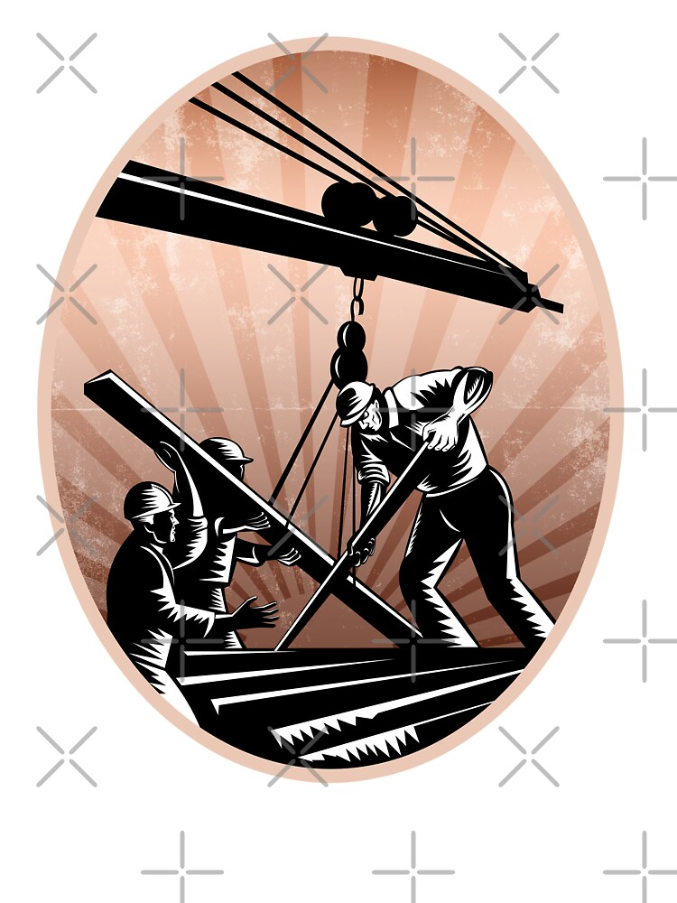 Construction Workers Woodcut Retro by patrimonio