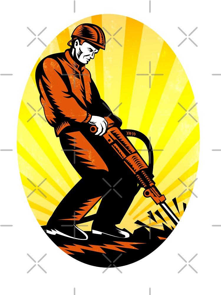Construction Worker Jackhammer Oval by patrimonio