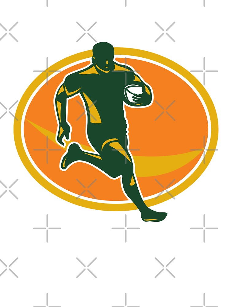 Rugby Player Running Ball Silhouette by patrimonio