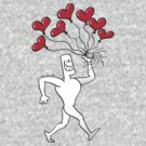 Man Walking with Heart Balloons by Zoo-co