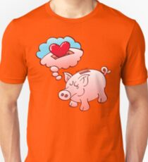 Piggy Bank Daydreaming of Hearts instead of Coins Slim Fit T-Shirt