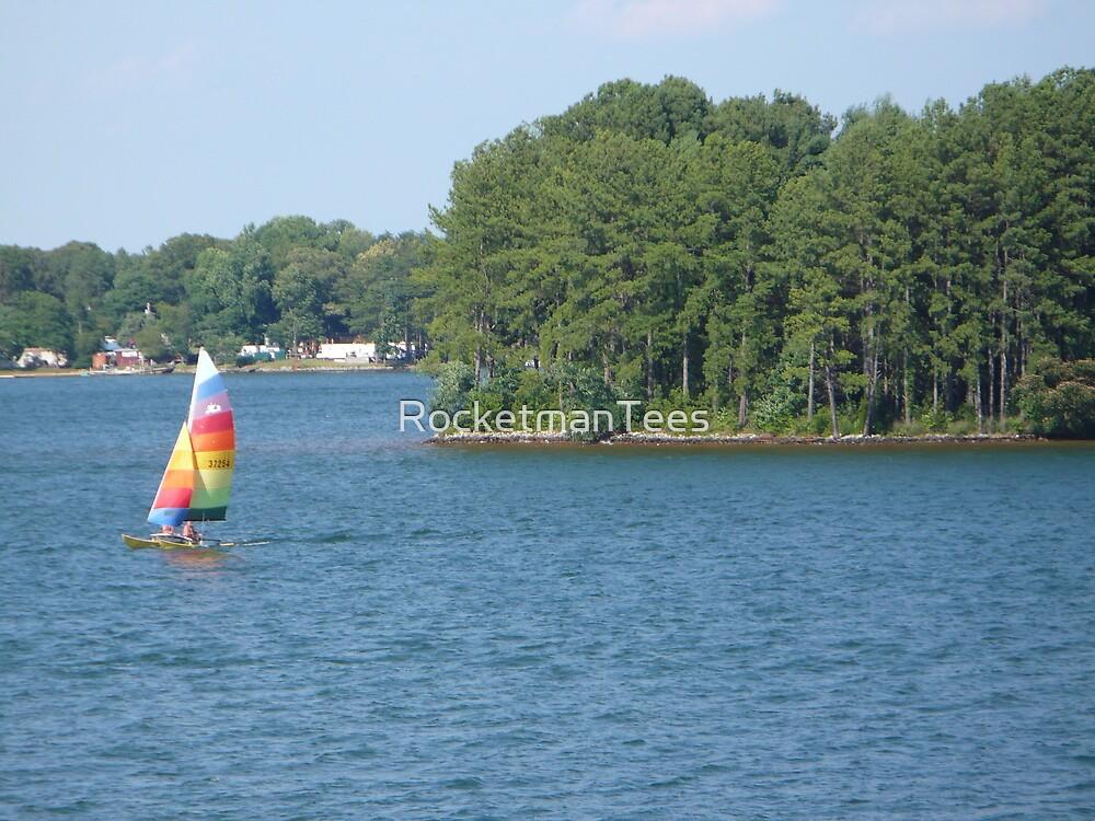 Sailboat at the Lake by RocketmanTees