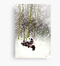 Pandas In The Snow Canvas Print