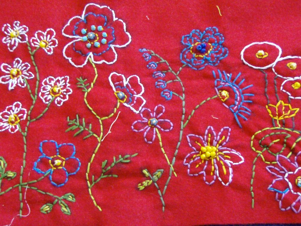 Embroidered flowers by AndreaGordon
