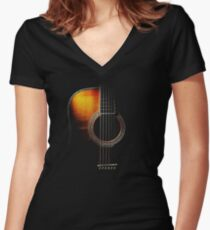 Colour Acoustic Guitar Hi-Lite Women's Fitted V-Neck T-Shirt