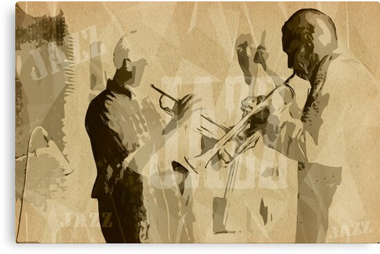 Two Trumpeter. Jazz Club Poster by cinema4design