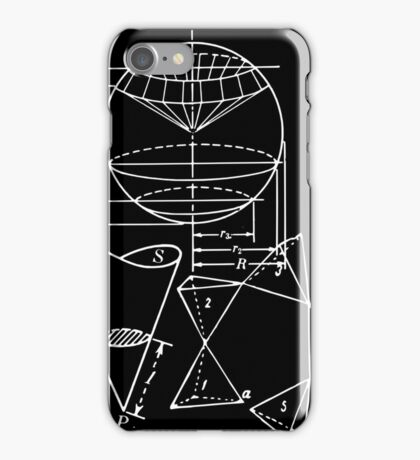 Vintage Math Diagrams - white on black iPhone Case/Skin