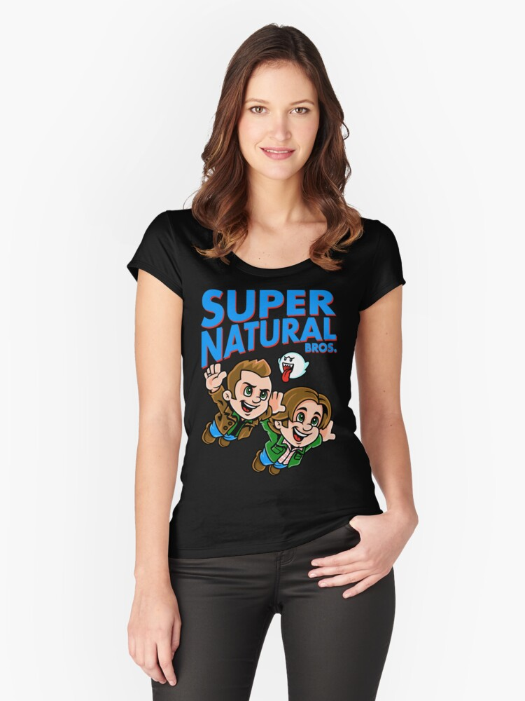 Super Natural Bros Women's Fitted Scoop T-Shirt Front