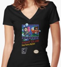 Fight Club 8 bit Style Women's Fitted V-Neck T-Shirt