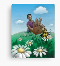 Young boy catching butterfly* Canvas Print