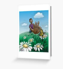 Young boy catching butterfly* Greeting Card