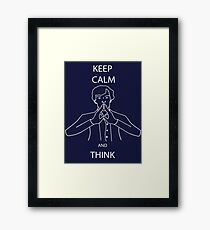 Keep Calm and Think Sherlock Framed Print