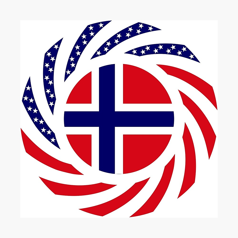 Norwegian American Multinational Patriot Flag Series 1.0 Photographic Print