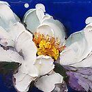 Peonia bianca su blu 1203 by Nicoletta Belletti