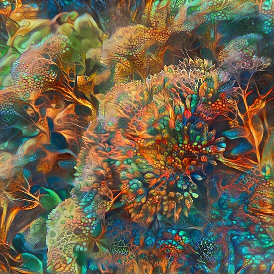 Abstraction of colorful underwater tropical coral reef