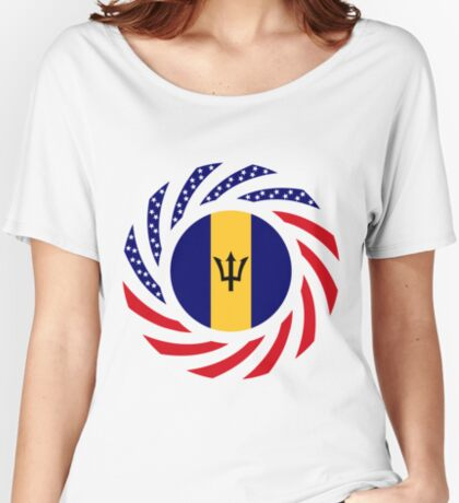 Barbadian American Multinational Patriot Flag Series Relaxed Fit T-Shirt