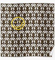 BBC Sherlock Holmes Damask Wallpaper Pattern Poster