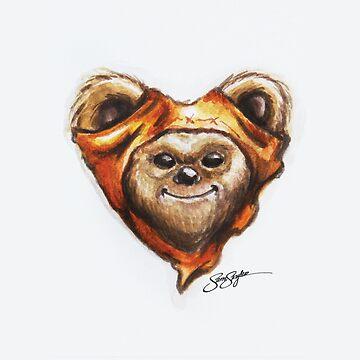 Ewok Star Wars Heart Art by samskyler
