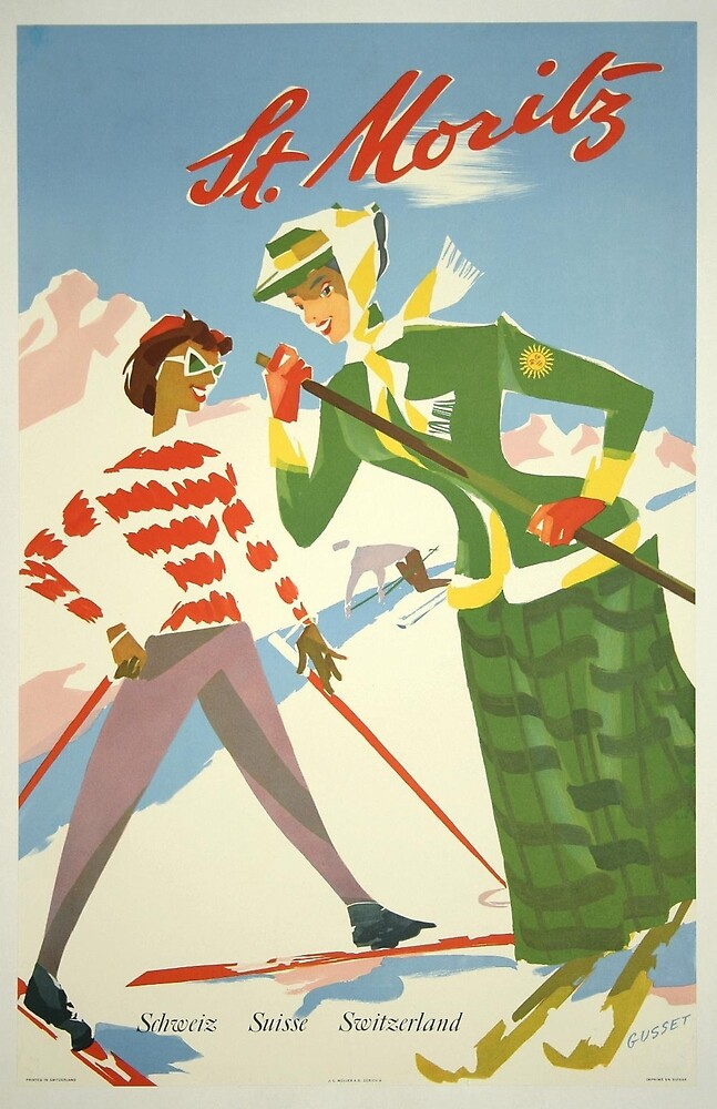 Vintage poster - St. Moritz by mosfunky