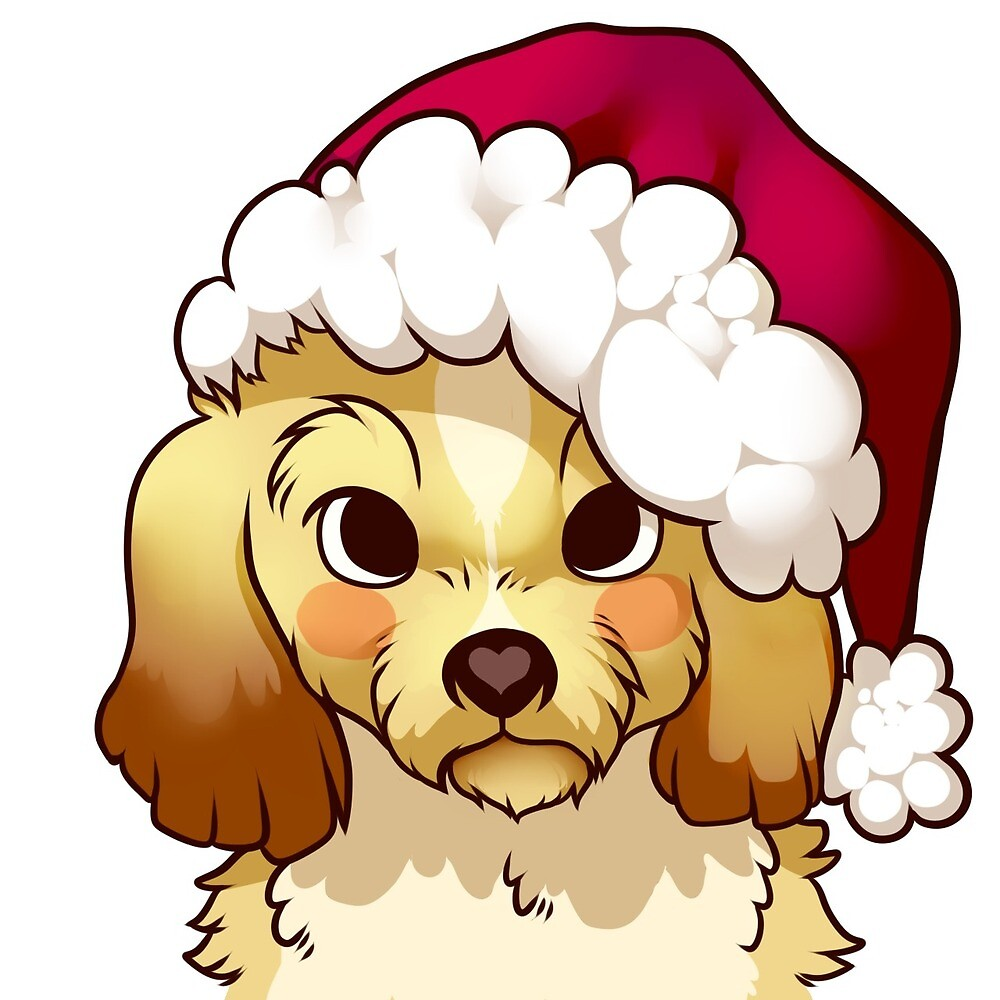 Puppy With Santa hat by Ikebee
