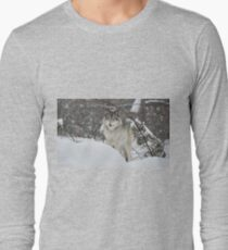 Snowy Nose - Timber Wolf aka Grey Wolf Long Sleeve T-Shirt