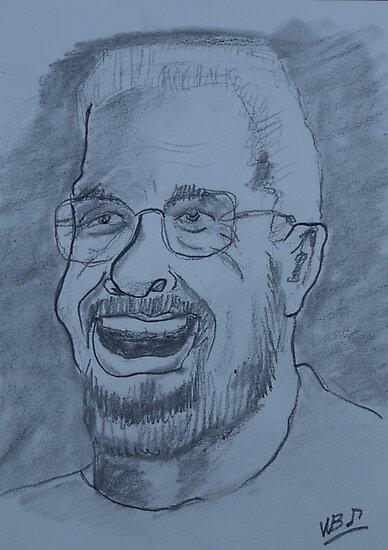 Scruffy Man With Glasses Drawing by worldartpeddler