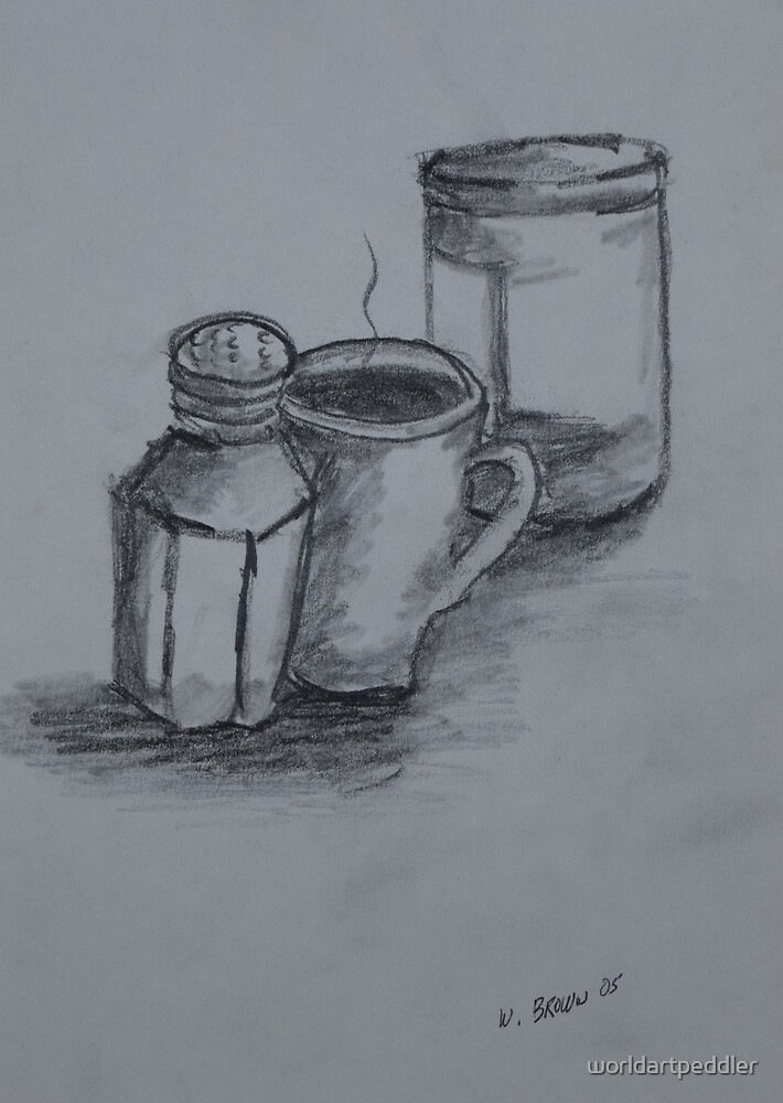 Still Life Drawing by worldartpeddler