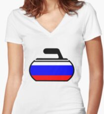 Russian Curling Women's Fitted V-Neck T-Shirt