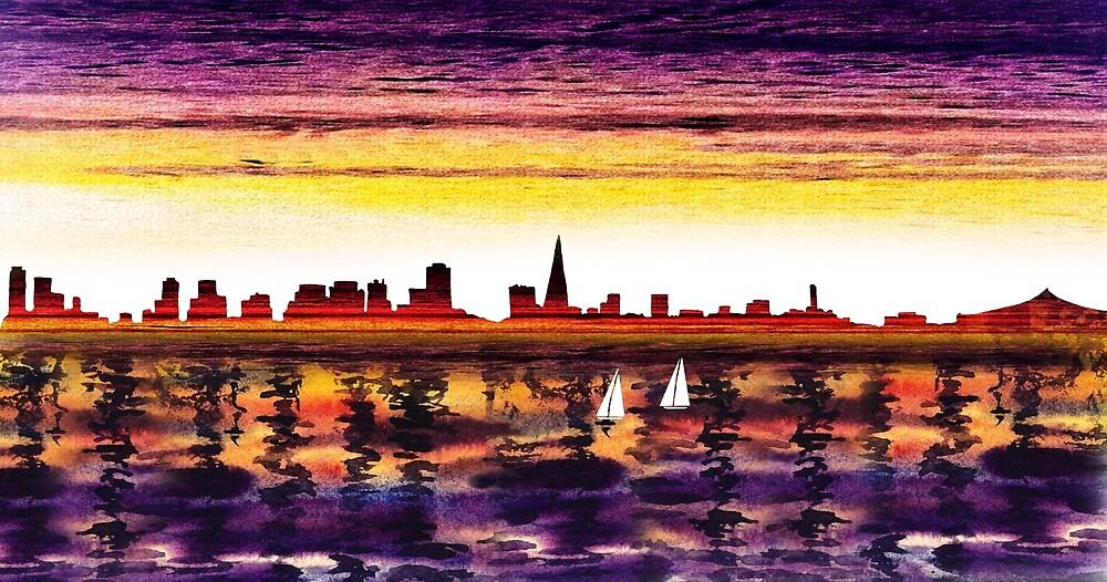 San Francisco Sunset City Skyline by Irina Sztukowski