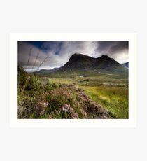 Scotland- Heather,wind and mountains Art Print