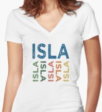 Isla Cute Colorful Women's Fitted V-Neck T-Shirt