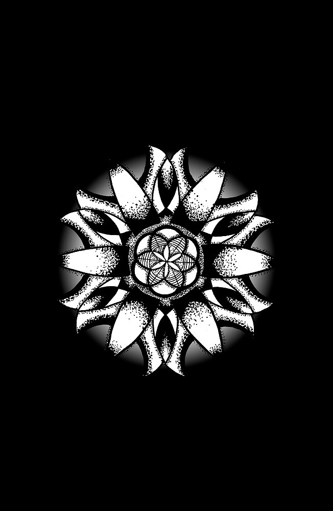 Mandala in black and white by siriusreno